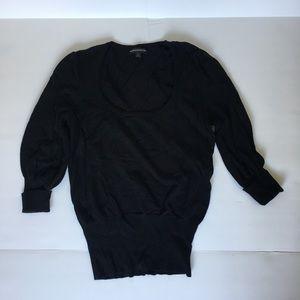 3/4 sleeve fine knit sweater shirt